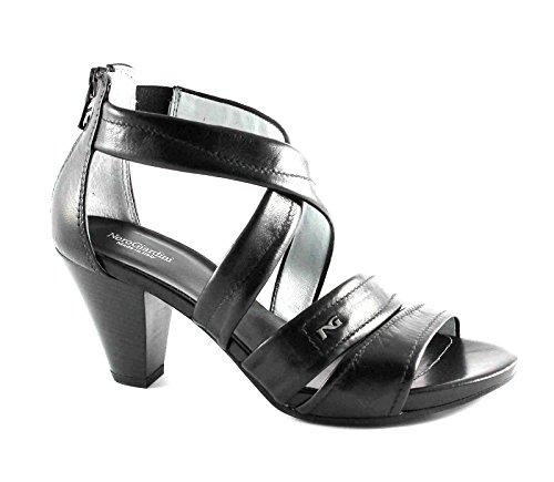 BLACK GARDENS 15551 Schuhe der schwarzen Frauen Sandelholzfersen Leder zip Nero