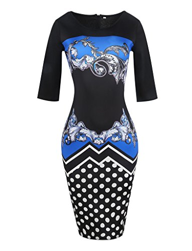 Smile YKK 1/2-Arm Damen Frauen Sommerkleid Bodycon Kleid Bleistiftkleid Knielanges Kleid Wickelkleid Blau