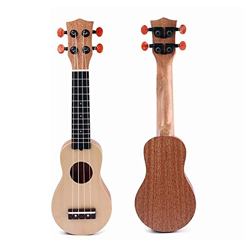 17-Zoll-Mahagoni Korpus Ukulelen Fichte Massiv Mini Travel Gitarre Sealed Machine Head Mit Tasche Carry (Color : Yellow-17 inches)
