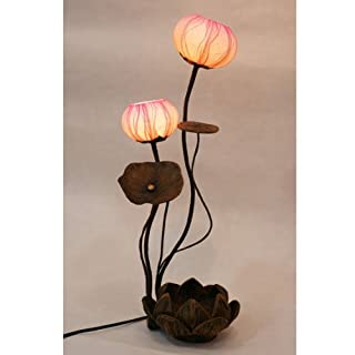 Mulberry Rice Paper Ball Handmade Lotus Flower Design Art Shade Round Globe Lantern Brown Asian Oriental Decorative Bedside Accent Home Decor Bedroom Table Floor Uplight Lamp