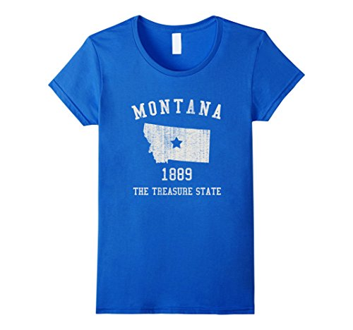 montana-the-treasure-state-vintage-t-shirt-damen-grosse-s-konigsblau