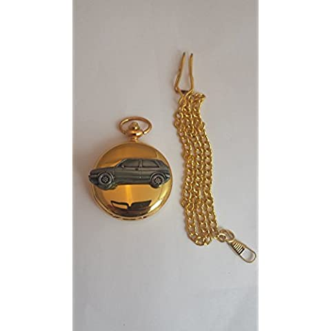VW Golf GTI Mk2ref300effetto peltro emblema su un oro lucido, regalo per uomo orologio da tasca al quarzo fob Made in