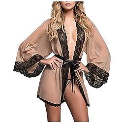 Writtian Damen Sexy Dessous Reizwäsche Nachthemd Unterwäsche Set Negligee V-Ausschnitt Transluzente Spitze Kimono Bademantel Sleepwear Kleid Weiter Ärmel Transparente Robe Mesh mit Gürtel und Tanga
