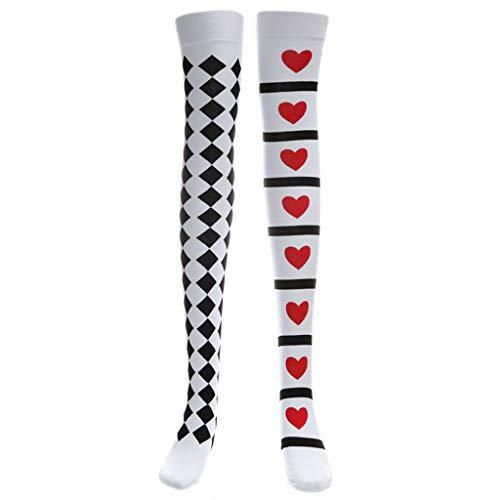 Cuigu Halloween Long Socks Knee High Poker schwarz und weiß Bedruckt Oberschenkel Unterteil Cosplay ()