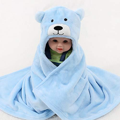 serviette de bain pour bébé 100% Bride Fluff Cape à Capuchon Enfants Garçon Fille Cartoon Ours de Bain Cape de Câlin Couverture Bleu 0-9 Ans