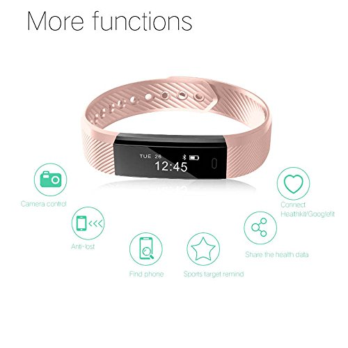 Fitness Tracker,Luluking Smart watch with Sleep Monitor, Bluetooth 4.0 Waterproof Smart Wristband Bracelet Sport Pedometer Activity Tracker with Alarm/Step Tracker/Calorie Counter/Sleep Tracker for Android,iPhone IOS Smart Phone – Men Women Boys Girls Ladies Man Pink
