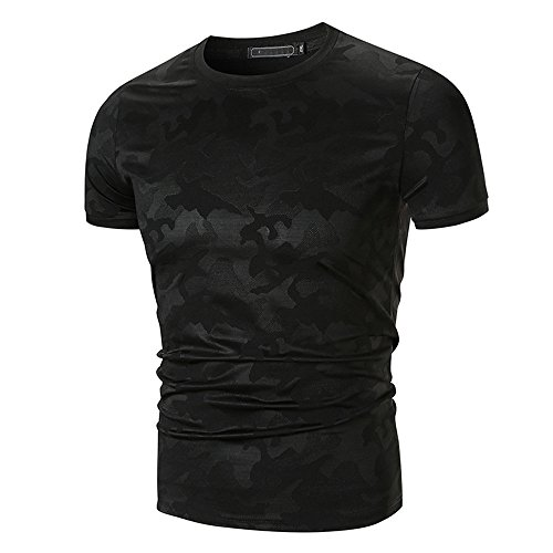 ASHOP - Camisetas Hombre - Summer T-Shirt - Estampado de Camuflaje O Cuello Top de Manga Corta - Chaleco Verano - Basic Algodón tee (Negro,XL)