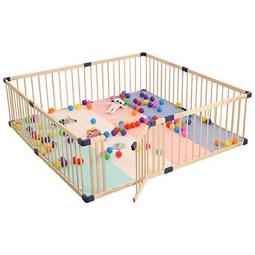 Holz Sicherheit Baby Laufstall, Indoor Und Outdoor Portable Playard Mit Rutschfesten Matten, Natürliche Kiefer, Keine Farbe (Size : 80x80cm) -