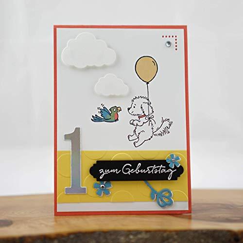 Geburtstagskarte Kinder Geburtstagsgrüße Hundekarte Grußkarte Karte zum Geburtstag Freude machen personalisierbar Handgemachte Karten Bastelstube