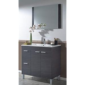 Abitti Mueble para baño o Aseo con 2 Puertas y 2 cajones con lavamanos de PMMA Color Gris Ceniza 80x80x45 cm