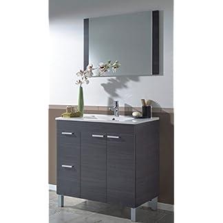 41D8 p03qQL. SS324  - Abitti Mueble para baño o Aseo con 2 Puertas y 2 cajones con lavamanos de PMMA Color Gris Ceniza 80x80x45 cm