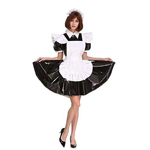 GOceBaby Sissi Zofen Abschließbar Schwarz PVC Kleid Transvestit Zum Männer Übergröße Kostüm (Transvestit Kostüme)