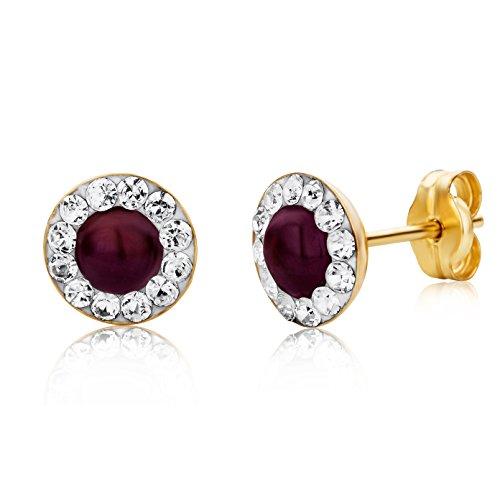 Miore Ohrringe Damen Gelbgold 9 Karat / 375 Gold Ohrstecker Rubin mit Swarovski