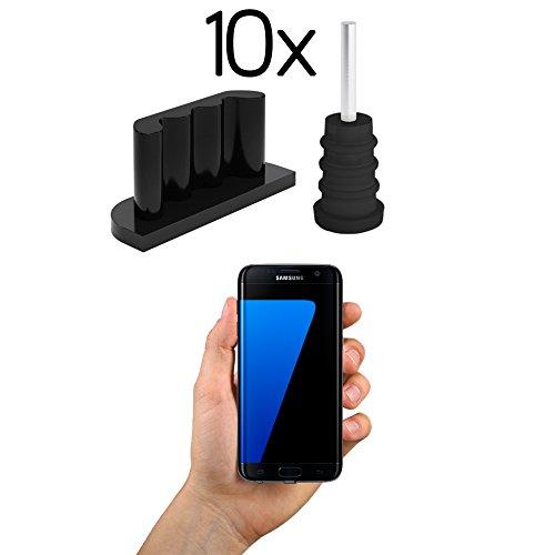 innoGadgets 10x Bouchon Anti-poussière Smartphone Fiche Anti-poussière, Protection pour connecteur Android Micro-USB - Samsung Galaxy S7   Bouchon Anti-poussière en Silicone - Noir