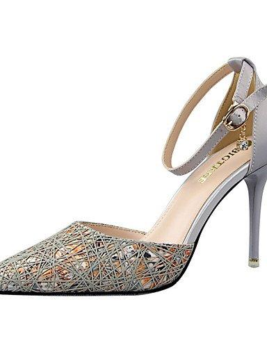 WSS 2016 Chaussures Femme-Habillé-Noir / Rose / Violet / Gris-Talon Aiguille-Talons / Bout Pointu / Bout Fermé-Talons-Similicuir black-us5 / eu35 / uk3 / cn34