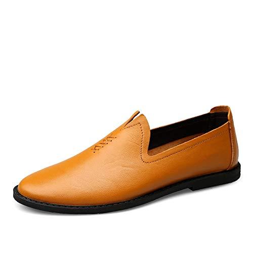Loafer Weichen Sohlen Leder Schuhe (Leder Mans Oxford Schuhe Driving Loafer Casual OX Leder weiche Sohle Einfarbig Business Bean Schuhe Boot Mokassins Schuhe (Color : Light Brown, Größe : 44 EU))