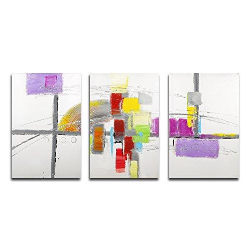 Lemon Tree Art 100% peint à la main abstraite peintures à l'huile sur toile, 40,6 x 61 cm Grande 3 panneaux murale encadrée moderne pour le salon Home Office Décor, prêts à poser