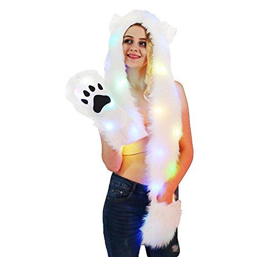 LED Unicorn Hut Schal Handschuhe Luminous Kätzchen Faux Pelz Hut Schal Handschuhe 3 in 1 Party Headwear ()