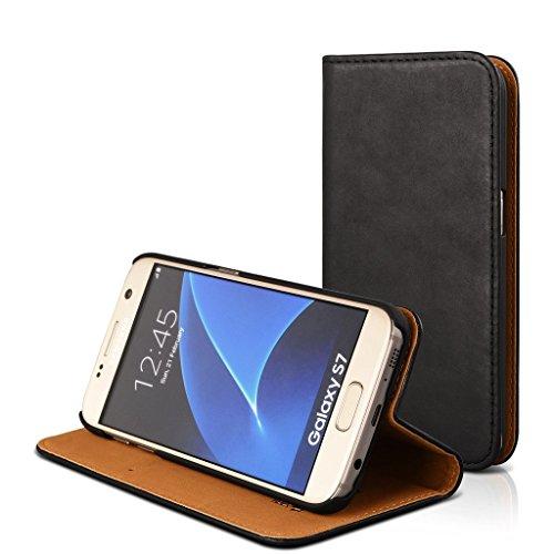 Echte Ledertasche mit Klapphülle, Magnetverschluss Und Kartenfach Schwedisches Design Dünne Handytasche Für (Samsung Galaxy S7, Schwarz)