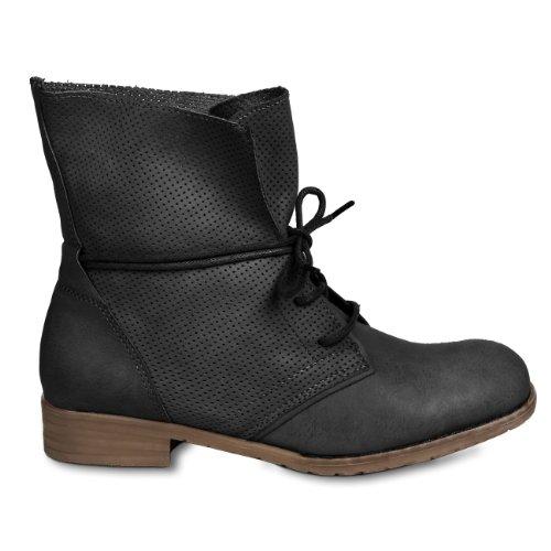 CASPAR - Bottines à lacets pour femme - 3 coloris - SBO033 Noir