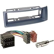 2 DIN Radioeinbauset Blende Radioanschlusskabel Antennenadapter Komplettset f/ür Renault Megane II CC EM 09//2002-05//2010 schwarz