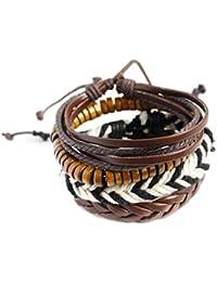 Bobury Capas Hombres Mujeres Chica Multi la Pulsera de los brazaletes de la PU Pulsera de Cuero de la Manera joyería de Cadena del Manguito