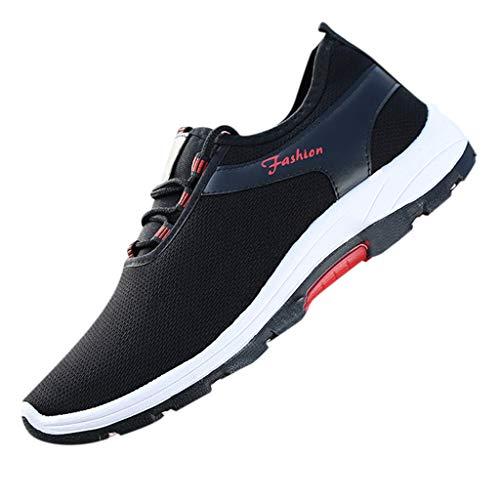 Tefamore Zapatillas Casual Hombre 2019 Verano Transpirable Calzado Hombre Tejiendo Zapatos Negro 43