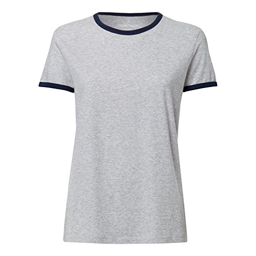 THOKKTHOKK Damen Ringer T-Shirt Heather Grey/French Navy Aus 100% Biobaumwolle//Bio und Fair, Größe:L (Ringer Heather Damen)