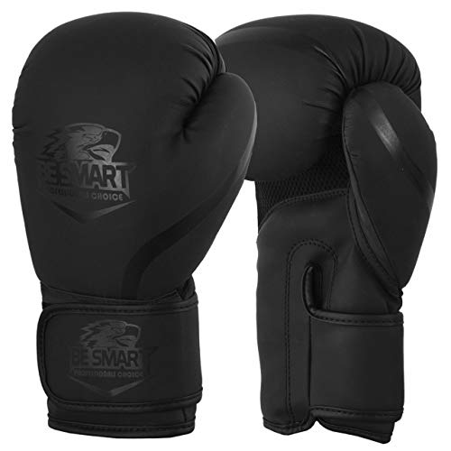 BE SMART besmart Leder Boxhandschuhe Sparring UFC Training MMA Stanz Käfig Fighting, Mattes Schwarz, 397 g -