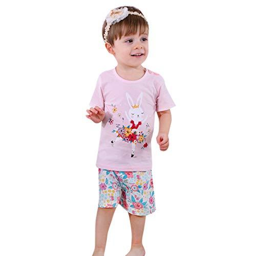 Mädchen Kurzarm Shirt Shorts Outfit Set Streifen Cartoon Tier gedruckt Kinderbekleidung(Rosa,73) ()