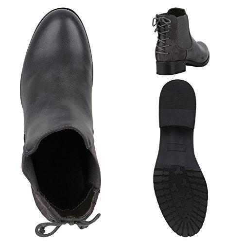 Stiefelparadies Damen Stiefeletten Chelsea Boots Zipper Leder-Optik Schuhe Nieten Metallic Lack Glitzer Blockabsatz Booties Profilsohle Flandell Grau Schleifen