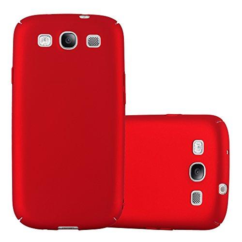 Cadorabo Hülle für Samsung Galaxy S3 / S3 NEO - Hülle in Metall ROT - Hardcase Handyhülle im Matt Metal Design - Schutzhülle Bumper Back Case Cover