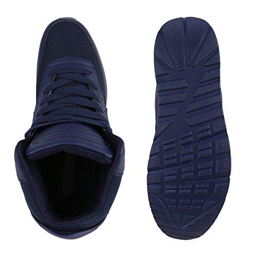 Sportliche Herren Sneakers High Bequeme Turnschuhe Basic Dunkelblau