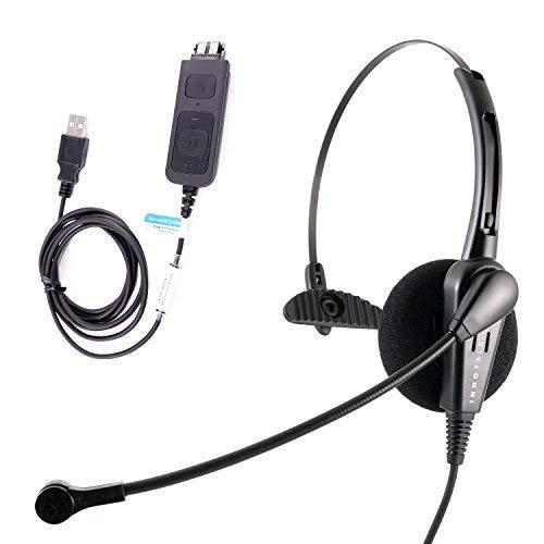 Kostengünstiges USB-Computer-Headset, langlebiges Call Center Headset für VoIP-Softphone von MS Lync (Skype für Business), Cisco Jabber Cisco Monaural Headset