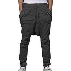 Minetom Hombres Chico Moda Harén Pantalones Slim Fit Casual Harem Pantalones Pololos (EU M, Gris oscuro)