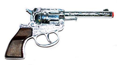 g Revolver Pistole Metall- Cowboykostüm Bandit Räuber Mafia Bankräuber Kostüm, 18cm, Mehrfarbig ()