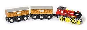 Modelleisenbahn Lokomotive elektrisch mit zwei Anhängern, die Lok macht auf Knopfdruck verschiedene Geräusche und kann vorwärts oder rückwärts fahren, erlebnisreiches Spielzeug für Kinder ab 3 Jahren