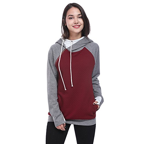 HUA&X Sweat-shirts femme Sweat fit Hat Strap Tops à manches longues Pull poche Wine Red