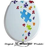 TREND DESIGN - Aufkleber für WC Toiletten Deckel ***Puzzle Spiel*** (Farbauswahl)