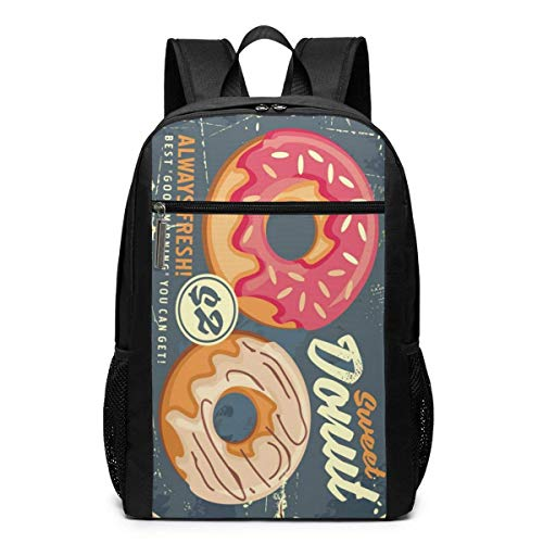 TRFashion Rucksack Donuts Retro Commercial Sign Design Unisex Laptop BackpackBusiness Travel Computer Bag Backpack Classic Lightweight Resistant Backpack 17 Inch Schoolbag Book Bag for Men Women Blac (Bag Coach Book)