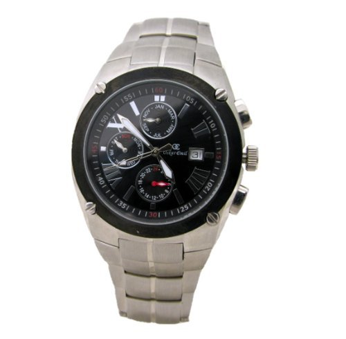Oskar Emil Parma Black Gents multifunction Watch with date.
