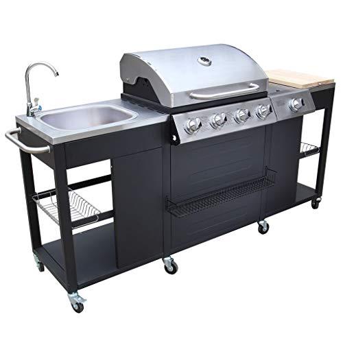 Festnight Barbecue BBQ Gas Missouri 4 Bruciatori +1 Acciaio Inossidabile con Ruote