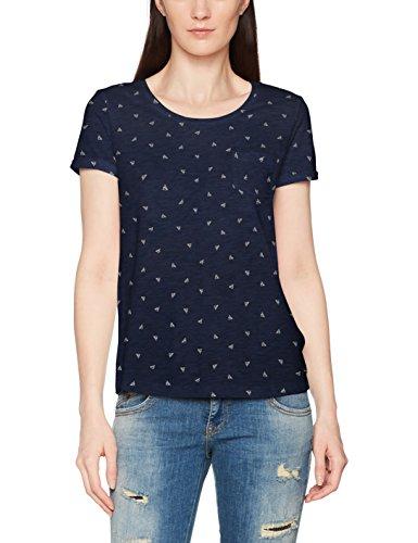 TOM TAILOR Denim Damen T-Shirt Printed Slub Tee, Blau (Sky Captain Blue 6901), 38 (Herstellergröße: M) (Denim Shirt)