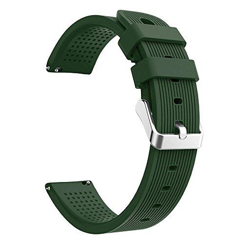 UNMIZ Ersatzband Sport Soft Silicon Accessory Watch Band Wirstband for Huami Amazfit Bip Watch Straps Silikon Uhrenarmband mit Schnellverschluss(Armeegrün) (Watch 30mm Band Weiß)