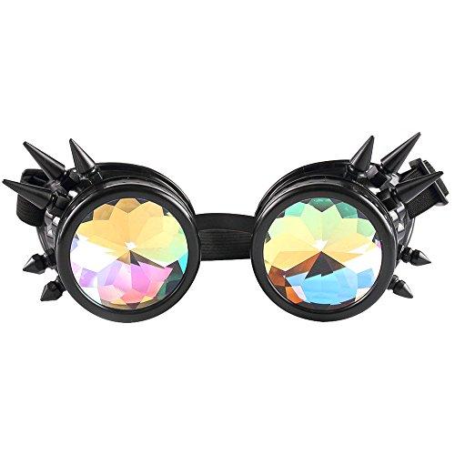Kaleidoscope Goggles Rainbow Rave Prism Beugung Diffraction Eyewear Regenbogen Linsen Neuheit Sonnenbrille Cosplay Brillen Kaleidoscope Toy (D Schwarz)