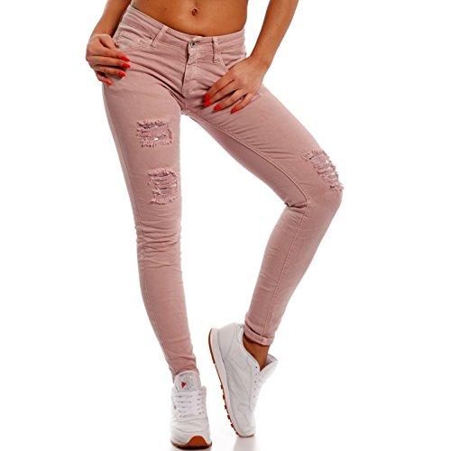 Young-Fashion Damen Skinny Pailletten Jeans Slim-Fit Regular Waist Destroyed, Farbe:Rosa;Größe:34/XS