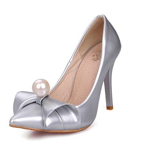 AllhqFashion Femme Pointu Tire Verni Couleur Unie Stylet Chaussures Légeres Argent