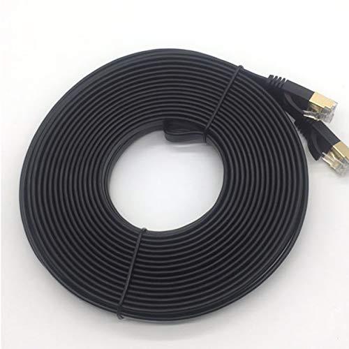 Tellaboull for 1 m / 2 m / 3 m / 5 m / 10 m CAT7-Ethernet-Kabel-Anschluss Ethernet-Internet-Netzwerkkabel Patchkabel Flach Design Drahtleitung Schwarz