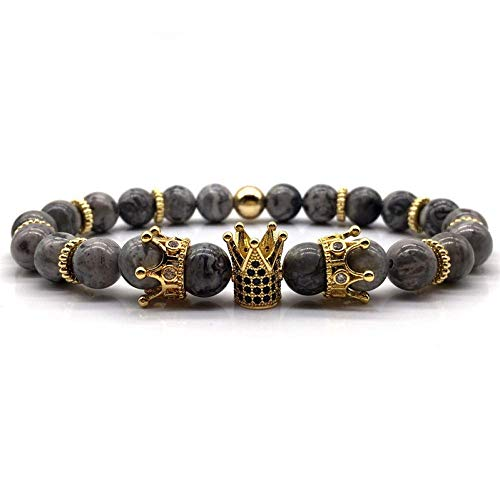 Armband Armreif,Schmuck Geschenk,Classic Crown Bracelet Men Charm Men Bracelet Micro Pave Cz Gold King Queen Stone Bead Bracelet for Men Jewelry