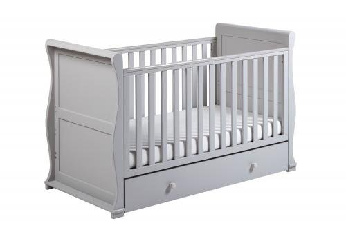 East Coast Alaska Sleigh 2 Piece Nursery Room Set with Under Drawer and Sprung Mattress - Grey East Coast  6